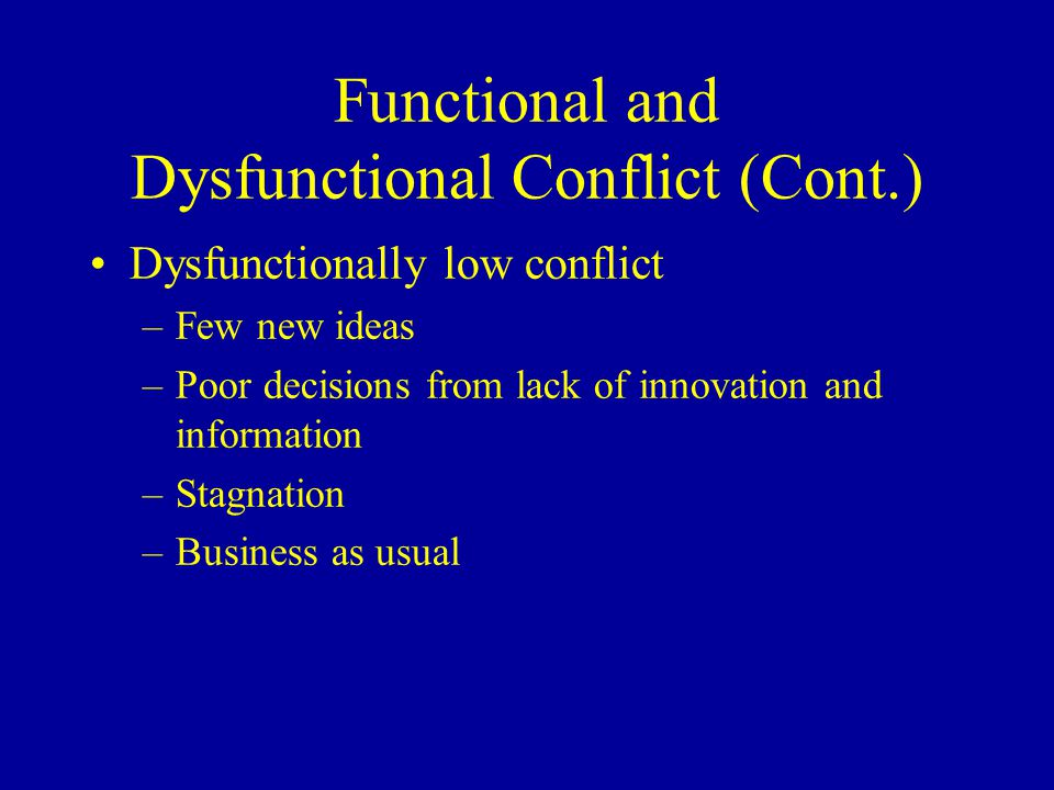 Functional and Dysfunctional Conflict (Cont.) Dysfunctionally low conflict –Few new ideas –Poor decisions from lack of innovation and information –Stagnation –Business as usual