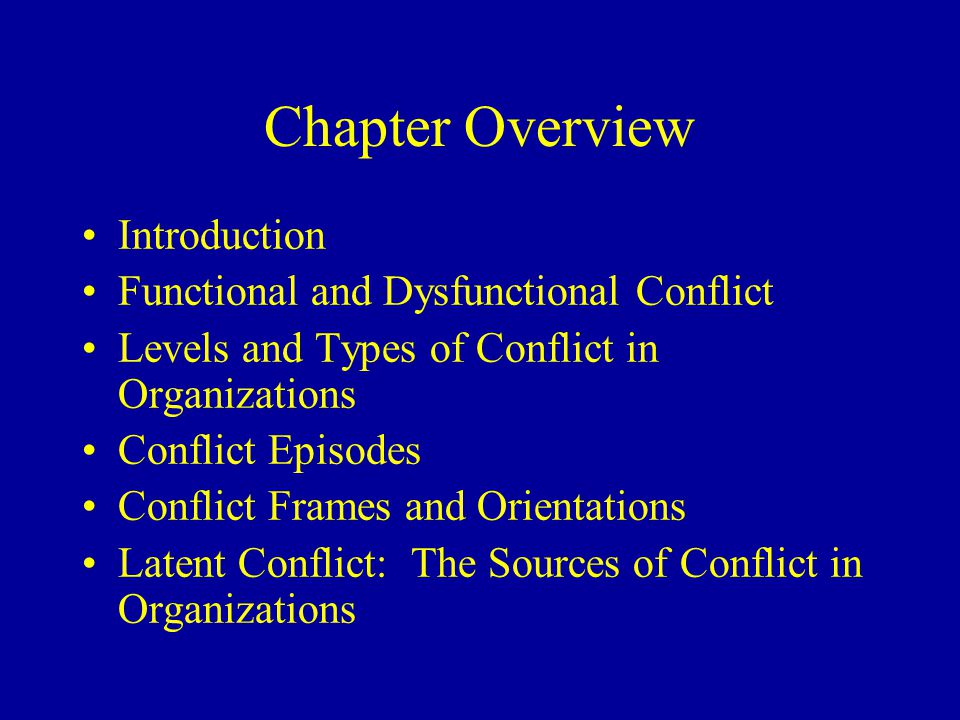 Levels and Types of Conflict Individual Group Organization Type of conflict Level of conflict Within and between organizations Within and between groups Within and between individuals