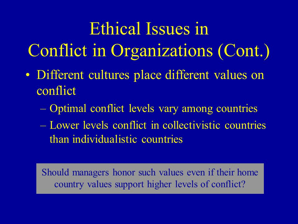 Ethical Issues in Conflict in Organizations (Cont.) Different cultures place different values on conflict –Optimal conflict levels vary among countries –Lower levels conflict in collectivistic countries than individualistic countries Should managers honor such values even if their home country values support higher levels of conflict