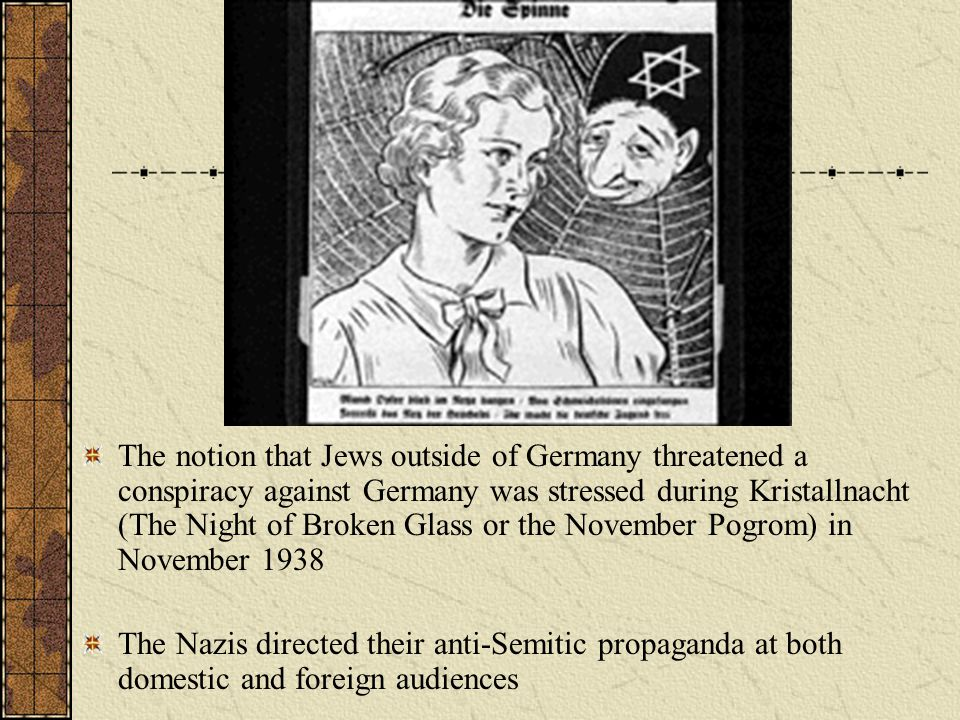 The notion that Jews outside of Germany threatened a conspiracy against Germany was stressed during Kristallnacht (The Night of Broken Glass or the No
