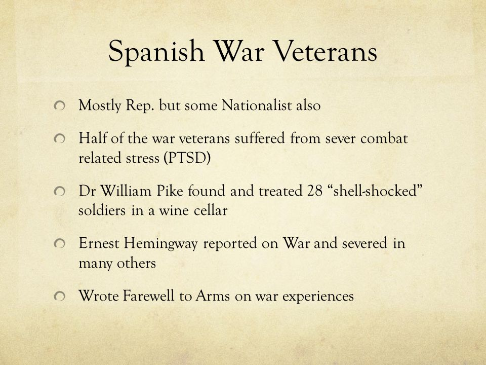 Spanish War Veterans Mostly Rep.