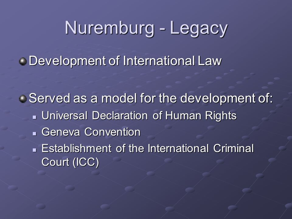Nuremburg - Legacy Development of International Law Served as a model for the development of: Universal Declaration of Human Rights Universal Declaration of Human Rights Geneva Convention Geneva Convention Establishment of the International Criminal Court (ICC) Establishment of the International Criminal Court (ICC)
