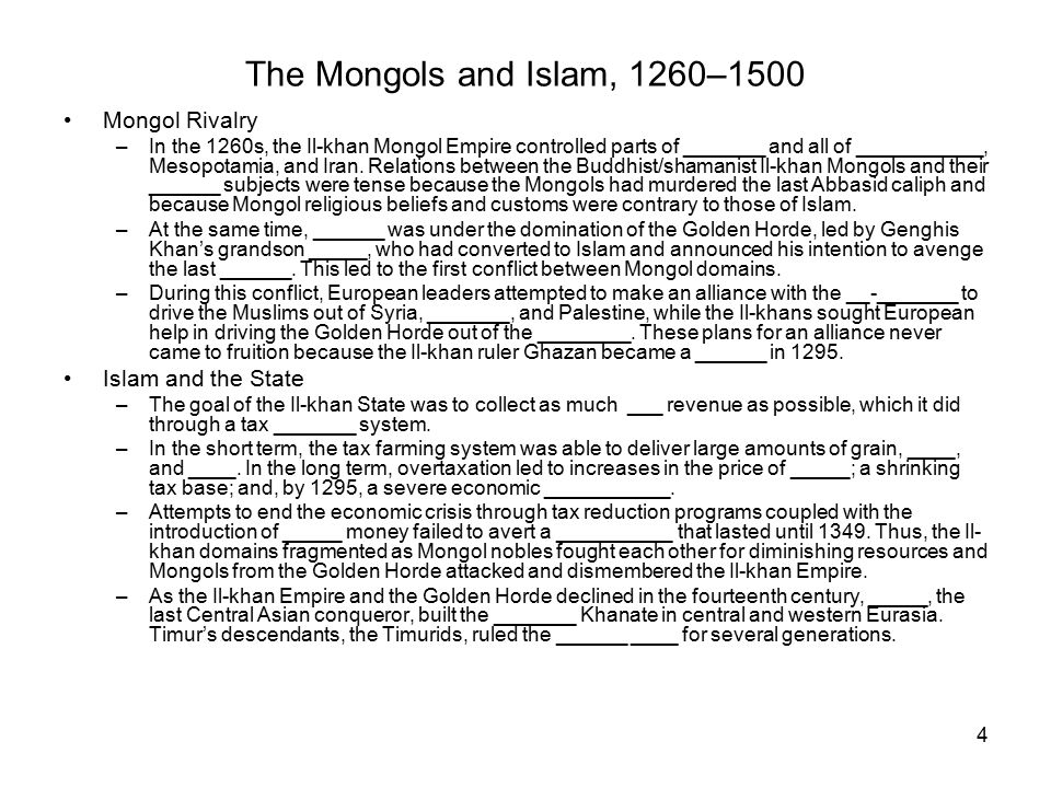 The Mongols and Islam, 1260–1500 Culture and Science in Islamic Eurasia –In literature, the historian _______ wrote the first comprehensive account of the rise of the Mongols under Genghis Khan.
