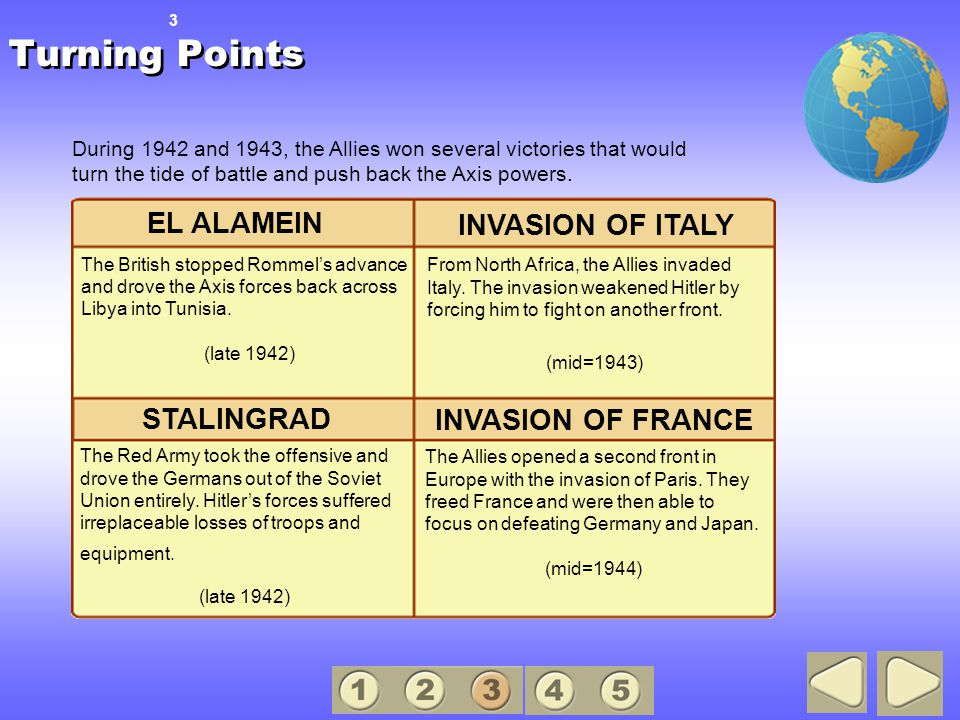 Turning Points The Allies opened a second front in Europe with the invasion of Paris.