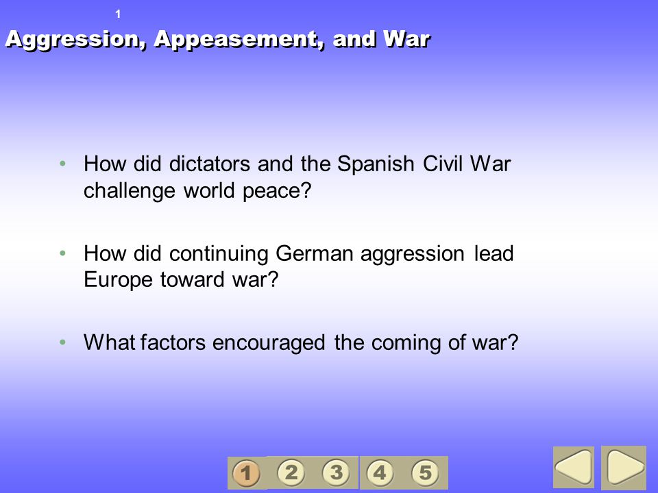 Aggression, Appeasement, and War How did dictators and the Spanish Civil War challenge world peace.