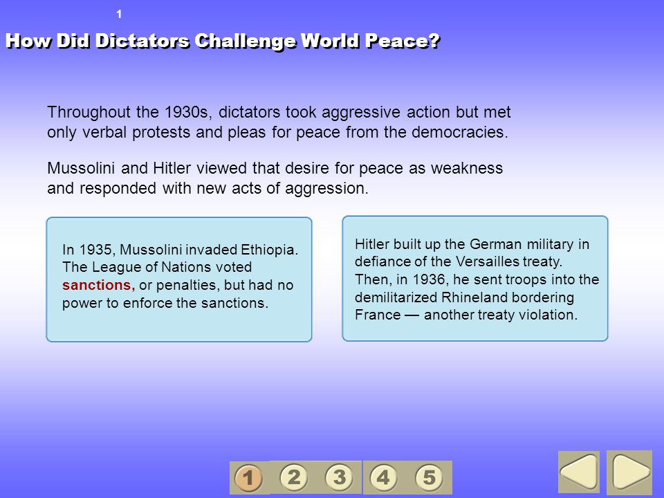 How Did Dictators Challenge World Peace.