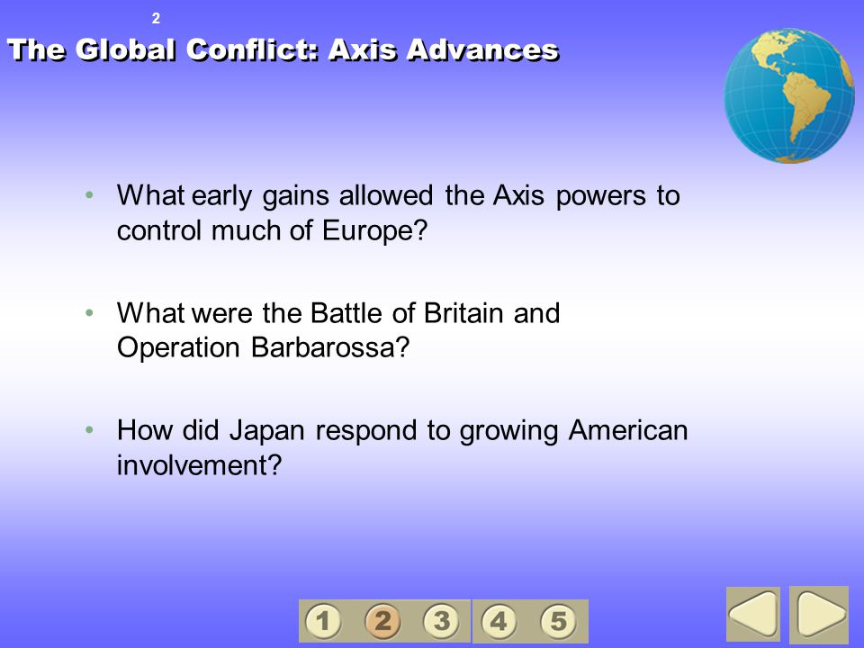 The Global Conflict: Axis Advances What early gains allowed the Axis powers to control much of Europe.