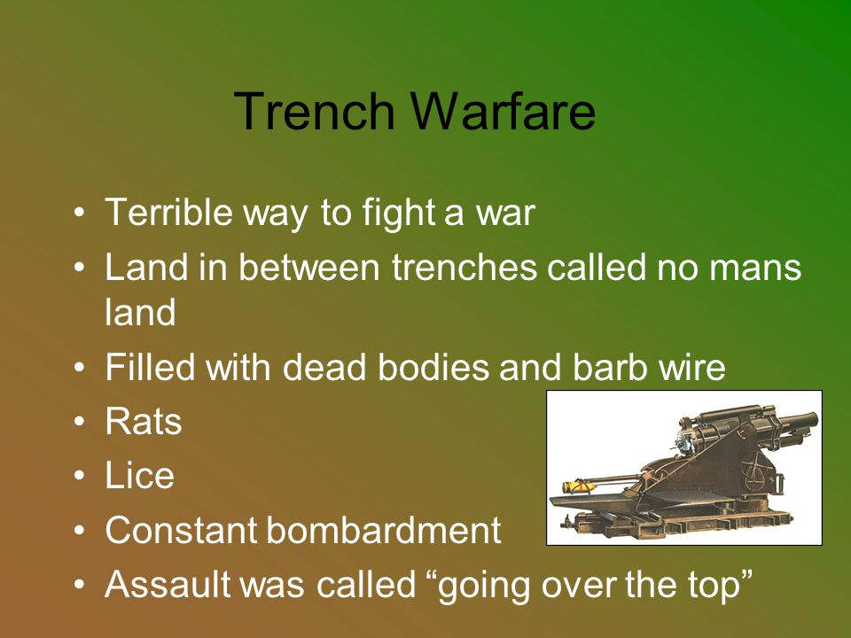 Trench Warfare Terrible way to fight a war Land in between trenches called no mans land Filled with dead bodies and barb wire Rats Lice Constant bomba