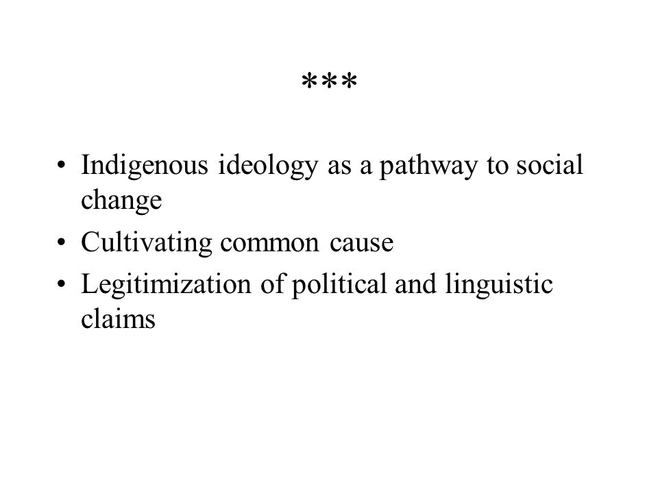 For Pan-Mayanists the movement means: Challenging the legacy of colonialism, racism Maya self-representation: Maya is not Static, represent a mix of practices and knowledges Problem with Indigenous identity as the only pathway to social change and self- representation