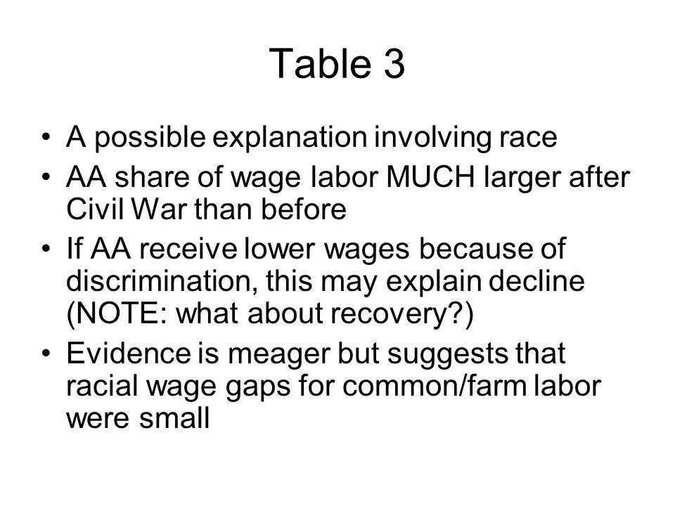 Table 3 A possible explanation involving race AA share of wage labor MUCH larger after Civil War than before If AA receive lower wages because of discrimination, this may explain decline (NOTE: what about recovery ) Evidence is meager but suggests that racial wage gaps for common/farm labor were small