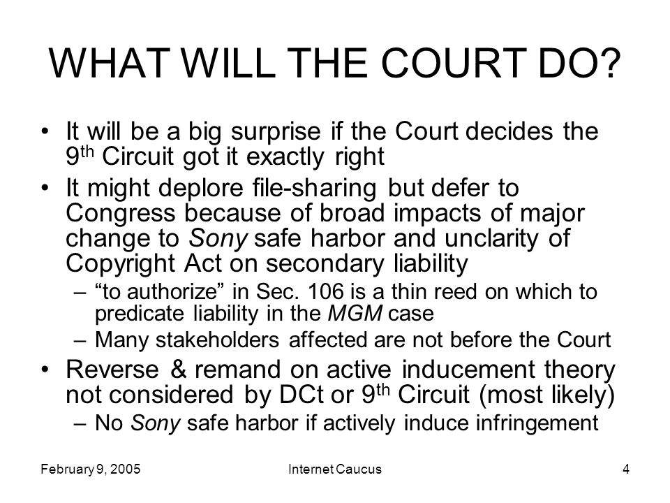 February 9, 2005Internet Caucus4 WHAT WILL THE COURT DO.