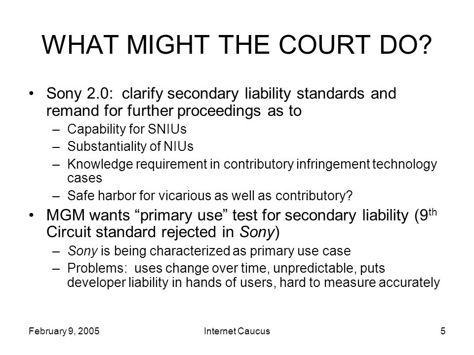 February 9, 2005Internet Caucus6 WHAT MIGHT THE COURT DO.