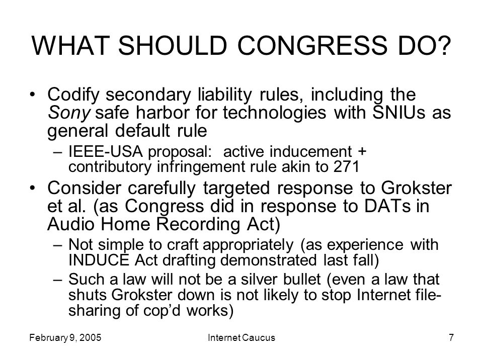 February 9, 2005Internet Caucus7 WHAT SHOULD CONGRESS DO.