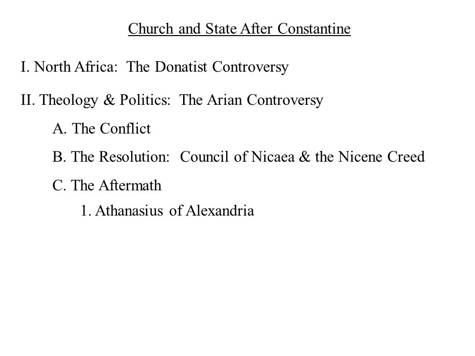 Church and State After Constantine I. North Africa: The Donatist Controversy II. Theology & Politics: The Arian Controversy A. The Conflict B. The Res