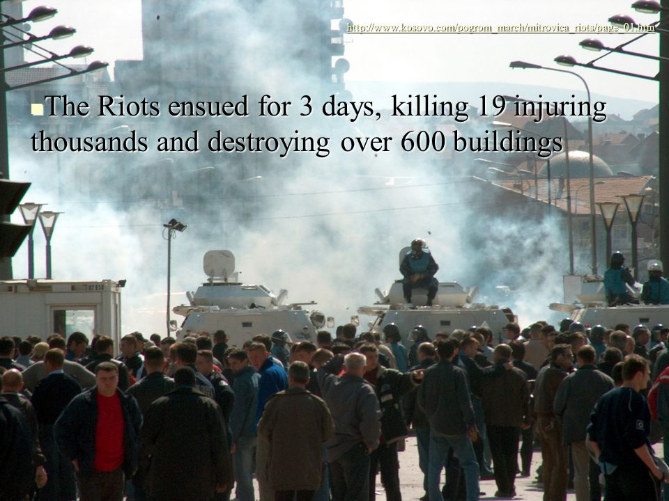 The Riots ensued for 3 days, killing 19 injuring thousands and destroying over 600 buildings The Riots ensued for 3 days, killing 19 injuring thousands and destroying over 600 buildings