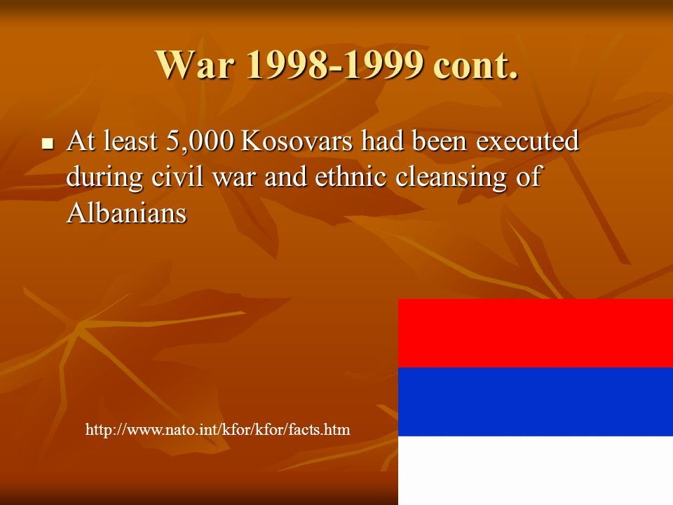 Post-War Kosovo Since Serbian forces retreated almost all of the 800,000 Albanian refugees have returned to Kosovo Since Serbian forces retreated almost all of the 800,000 Albanian refugees have returned to Kosovo Tens of thousands of Serbs have left the area since Tens of thousands of Serbs have left the area since NATO recognizes KLA as Kosovo Protection Force (KPF) NATO recognizes KLA as Kosovo Protection Force (KPF)