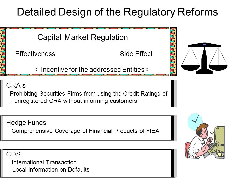 Detailed Design of the Regulatory Reforms Capital Market Regulation Effectiveness Side Effect CRA s Prohibiting Securities Firms from using the Credit Ratings of unregistered CRA without informing customers Hedge Funds Comprehensive Coverage of Financial Products of FIEA CDS International Transaction Local Information on Defaults