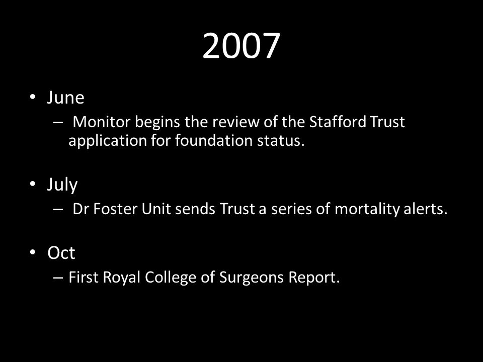 2007 June – Monitor begins the review of the Stafford Trust application for foundation status.