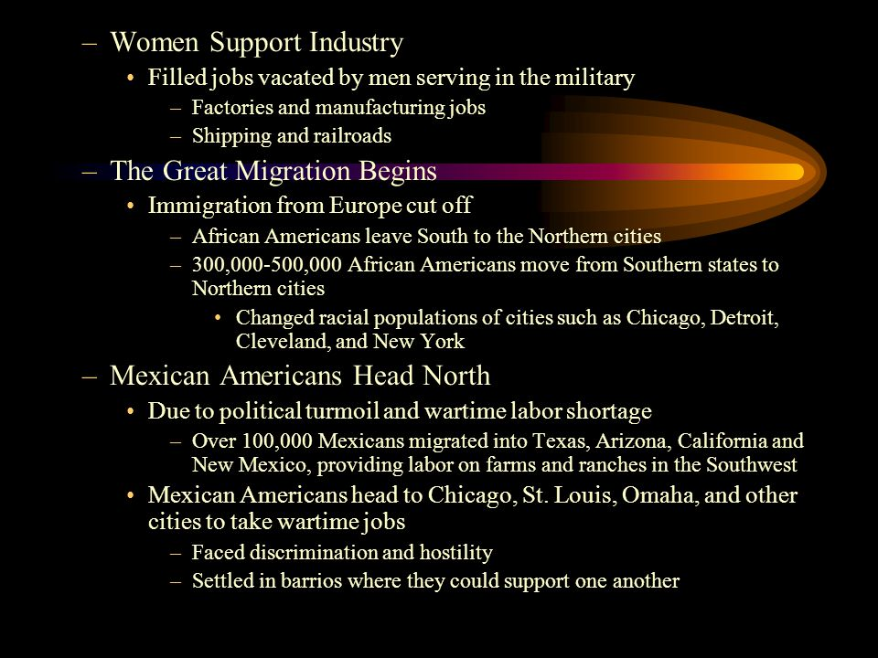 –Women Support Industry Filled jobs vacated by men serving in the military –Factories and manufacturing jobs –Shipping and railroads –The Great Migrat