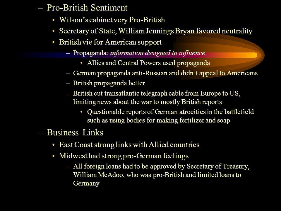 –Pro-British Sentiment Wilson's cabinet very Pro-British Secretary of State, William Jennings Bryan favored neutrality British vie for American suppor