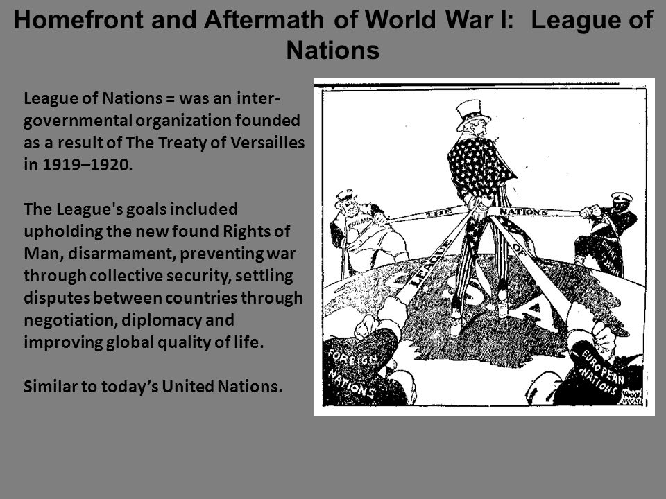 League of Nations = was an inter- governmental organization founded as a result of The Treaty of Versailles in 1919–1920.