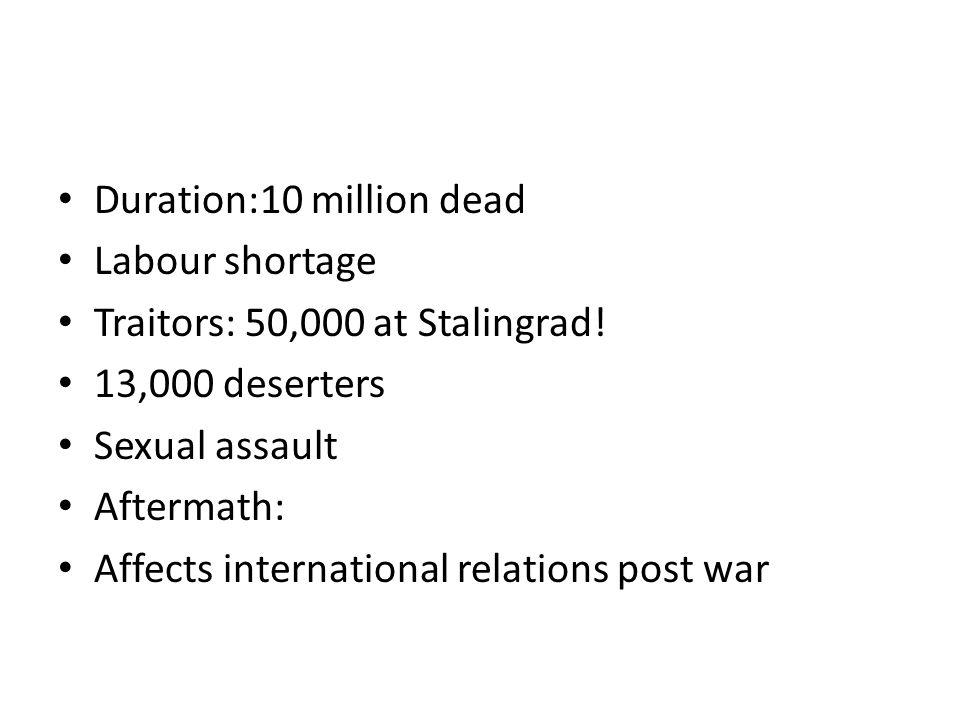 Duration:10 million dead Labour shortage Traitors: 50,000 at Stalingrad.