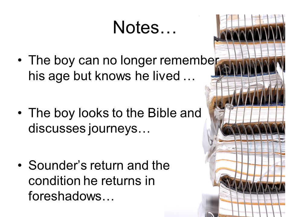 Notes… The boy can no longer remember his age but knows he lived … The boy looks to the Bible and discusses journeys… Sounder's return and the conditi