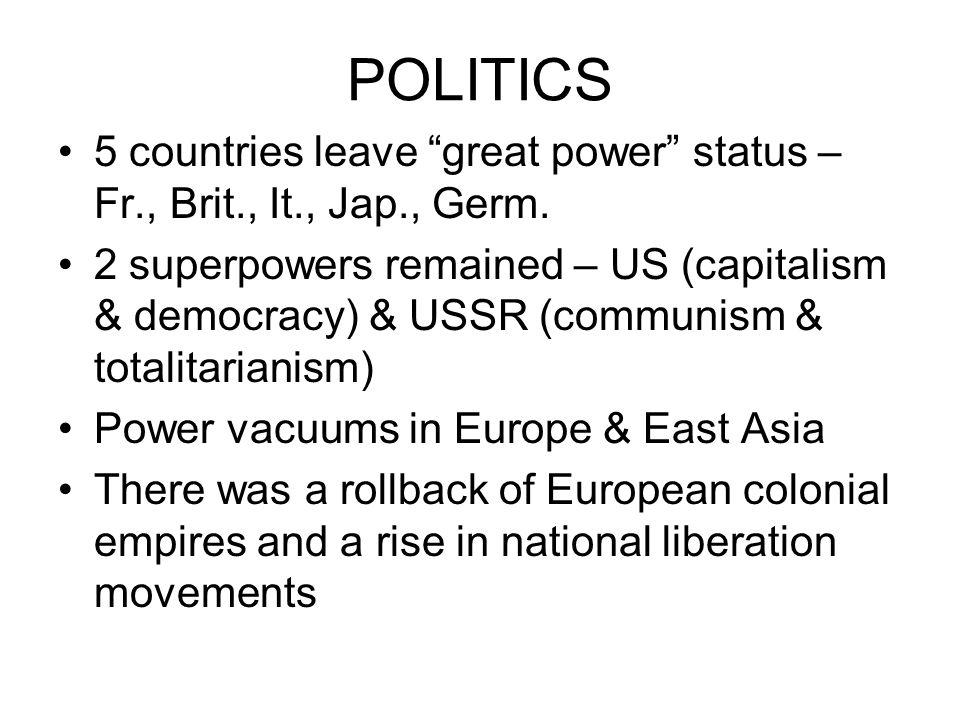 POLITICS 5 countries leave great power status – Fr., Brit., It., Jap., Germ.