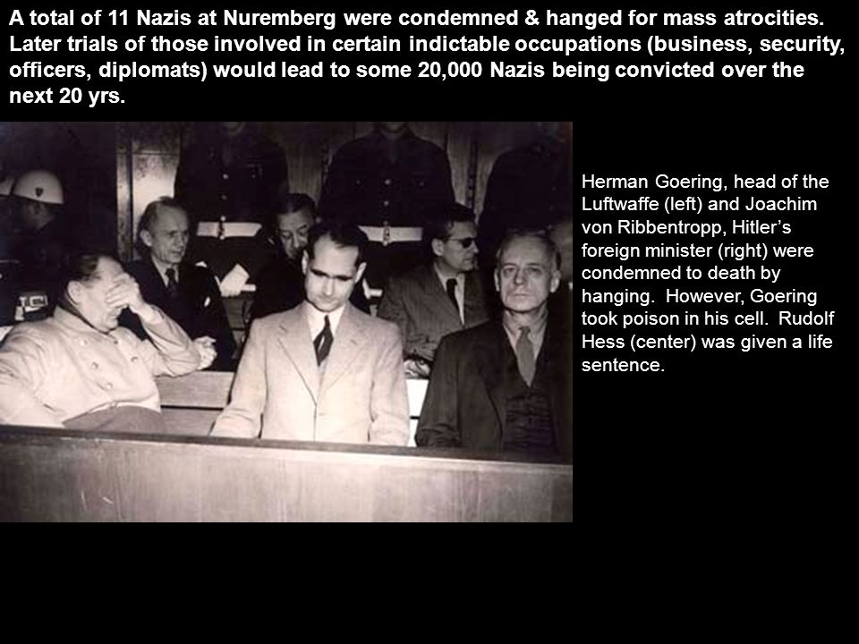 A total of 11 Nazis at Nuremberg were condemned & hanged for mass atrocities.