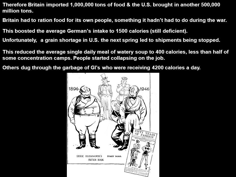 Therefore Britain imported 1,000,000 tons of food & the U.S.