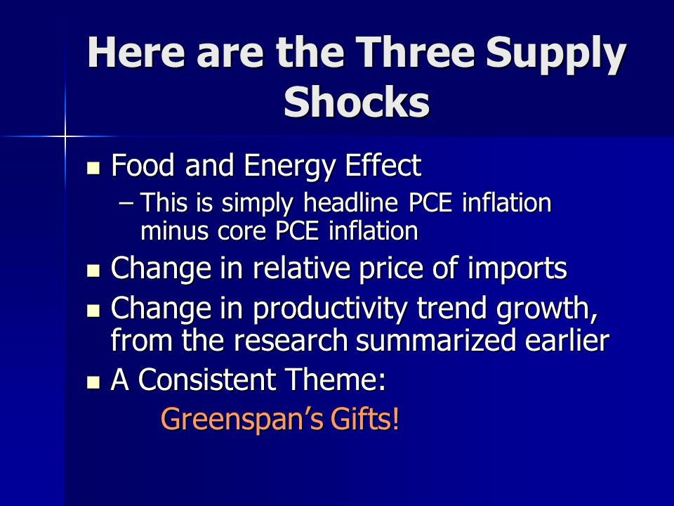 Here are the Three Supply Shocks Food and Energy Effect Food and Energy Effect –This is simply headline PCE inflation minus core PCE inflation Change in relative price of imports Change in relative price of imports Change in productivity trend growth, from the research summarized earlier Change in productivity trend growth, from the research summarized earlier A Consistent Theme: A Consistent Theme: Greenspan's Gifts.