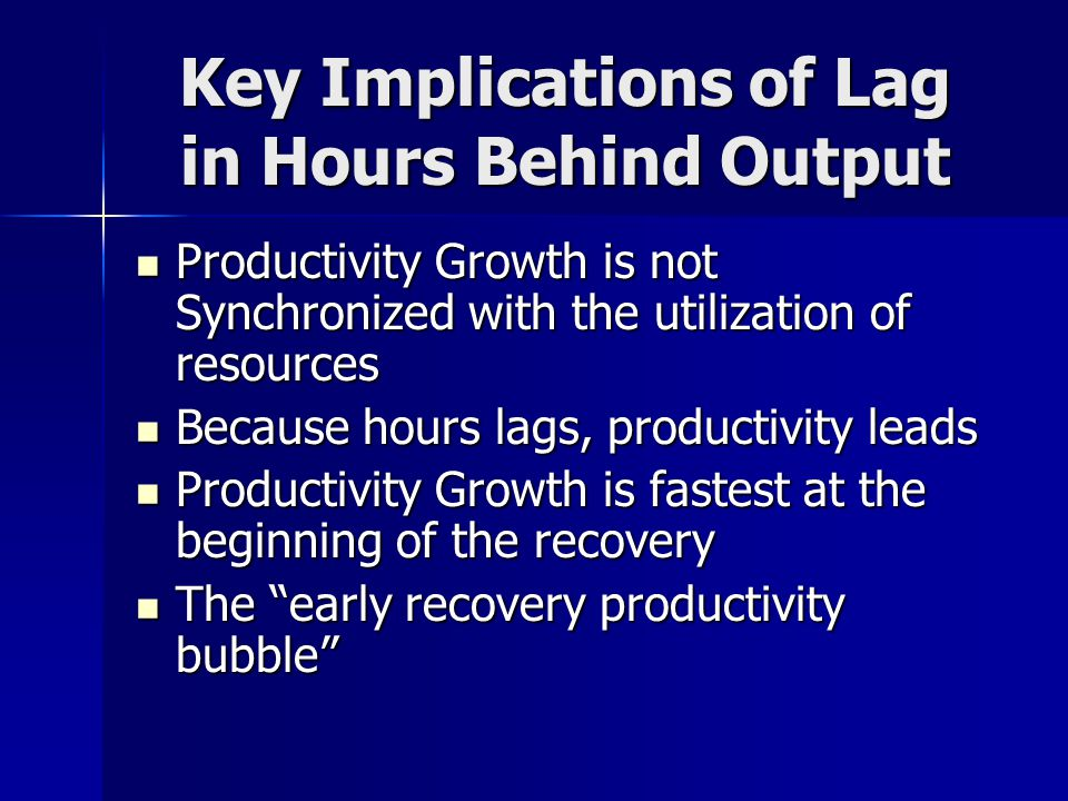 Key Implications of Lag in Hours Behind Output Productivity Growth is not Synchronized with the utilization of resources Productivity Growth is not Synchronized with the utilization of resources Because hours lags, productivity leads Because hours lags, productivity leads Productivity Growth is fastest at the beginning of the recovery Productivity Growth is fastest at the beginning of the recovery The early recovery productivity bubble The early recovery productivity bubble