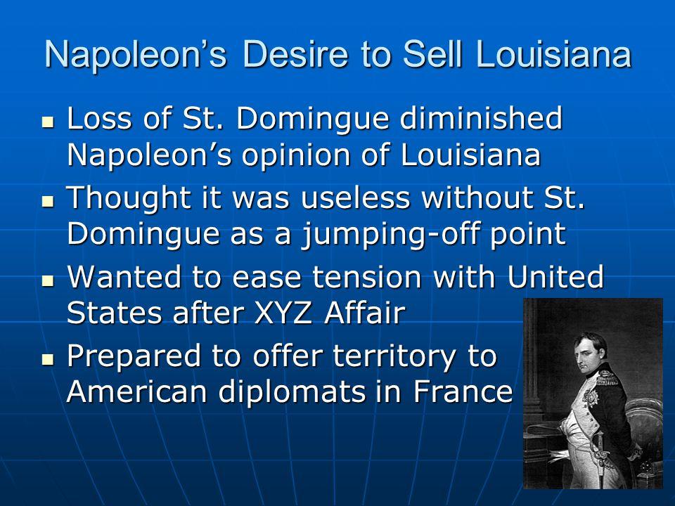 Napoleon's Desire to Sell Louisiana Loss of St.