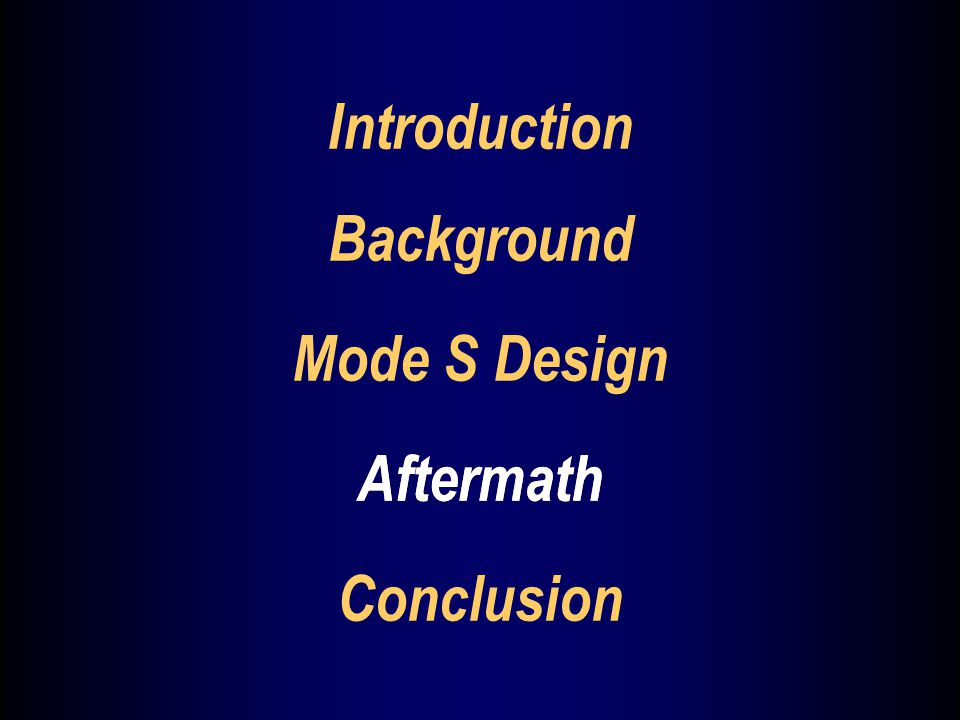 Aftermath Mode S Design Aftermath Conclusion Background Introduction