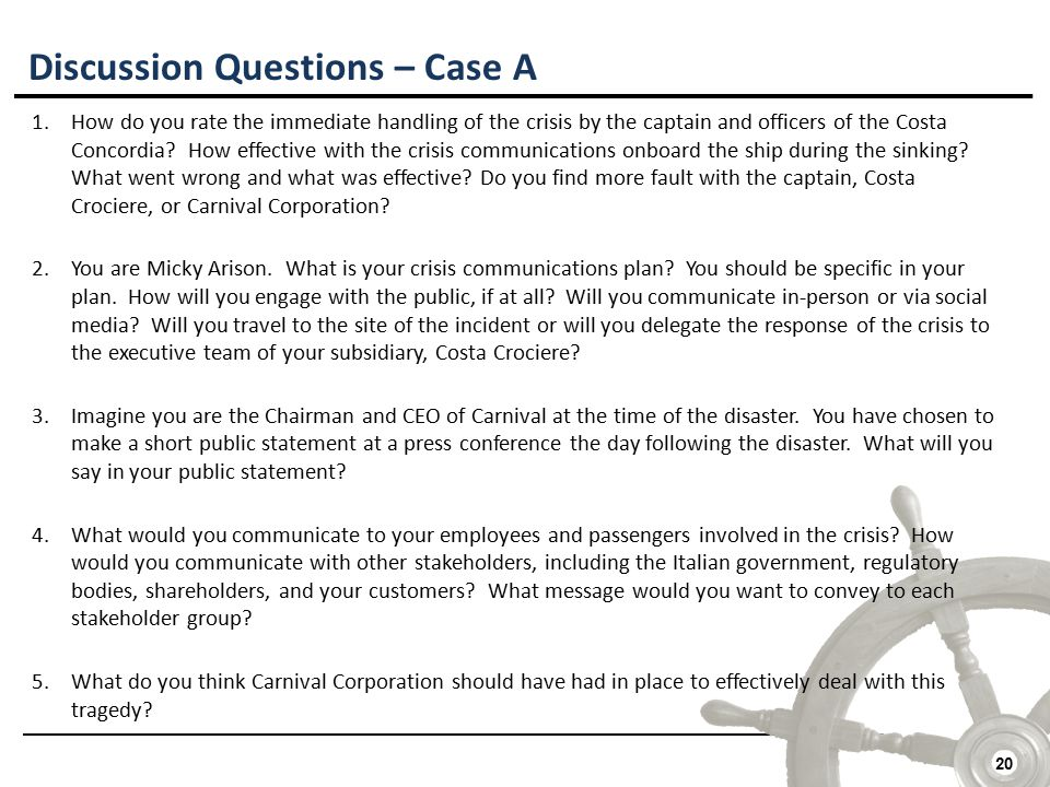 20 Discussion Questions – Case A 1.How do you rate the immediate handling of the crisis by the captain and officers of the Costa Concordia.