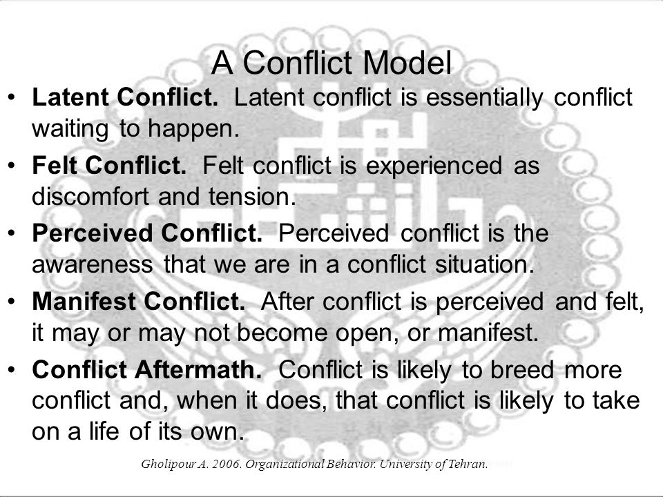 Gholipour A. 2006. Organizational Behavior. University of Tehran. A Conflict Model Latent Conflict. Latent conflict is essentially conflict waiting to