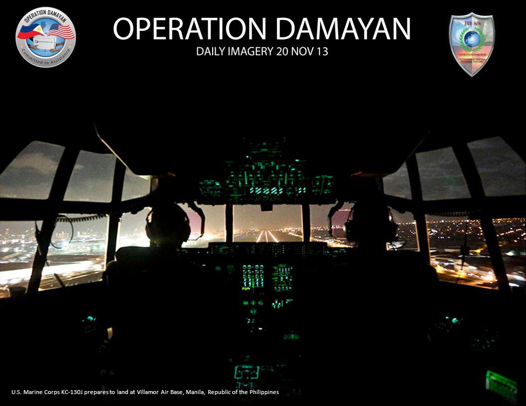 U.S. Marine Corps KC-130J prepares to land at Villamor Air Base, Manila, Republic of the Philippines