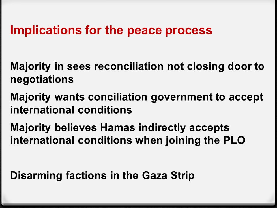 Implications for the peace process Majority in sees reconciliation not closing door to negotiations Majority wants conciliation government to accept international conditions Majority believes Hamas indirectly accepts international conditions when joining the PLO Disarming factions in the Gaza Strip
