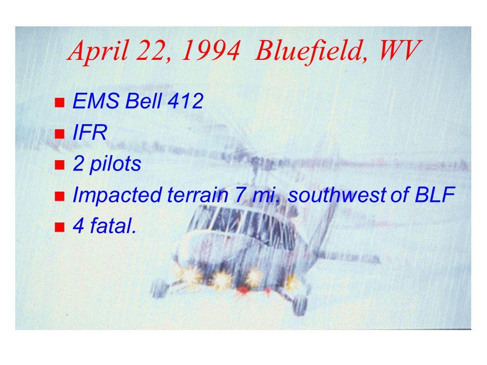April 22, 1994 Bluefield, WV n EMS Bell 412 n IFR n 2 pilots n Impacted terrain 7 mi.