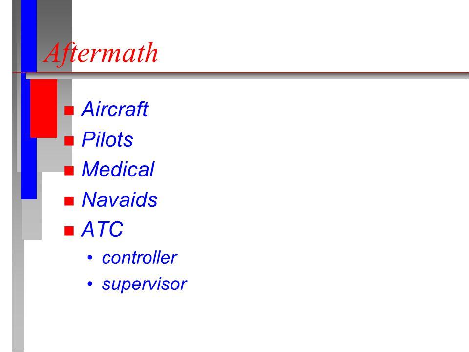 Aftermath n Aircraft n Pilots n Medical n Navaids n ATC controller supervisor