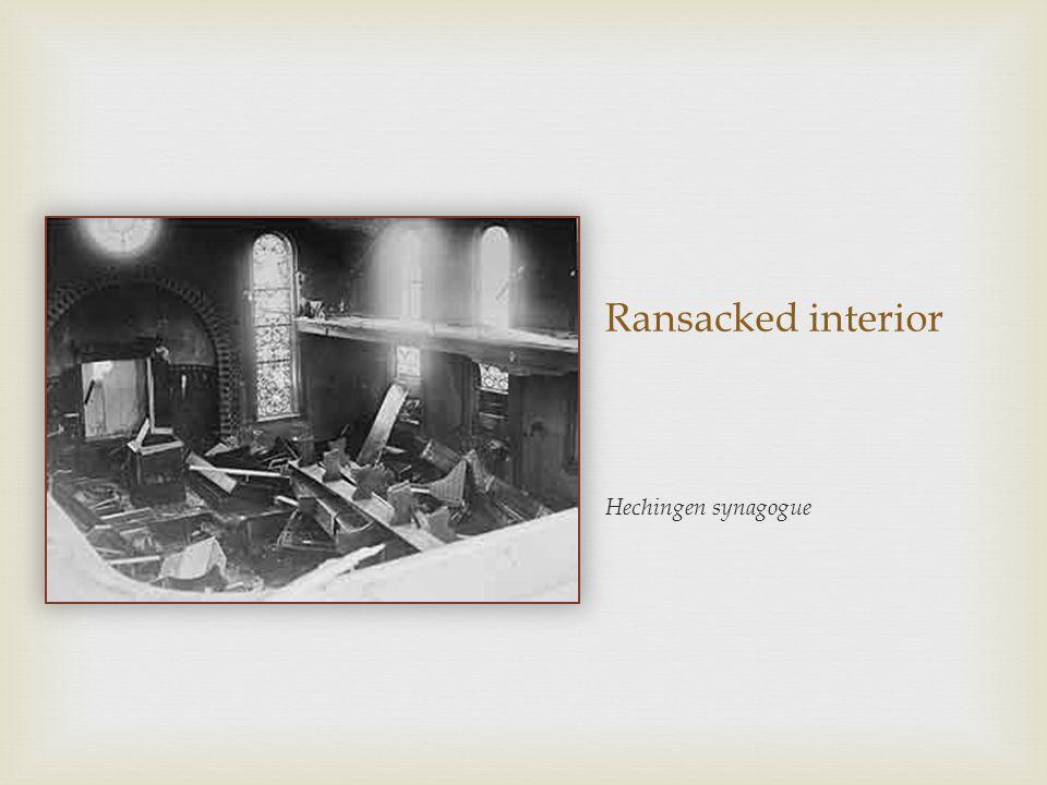 Ransacked interior Hechingen synagogue