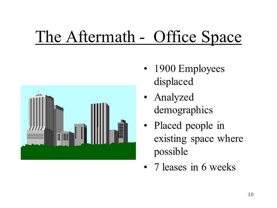 10 The Aftermath - Office Space 1900 Employees displaced Analyzed demographics Placed people in existing space where possible 7 leases in 6 weeks
