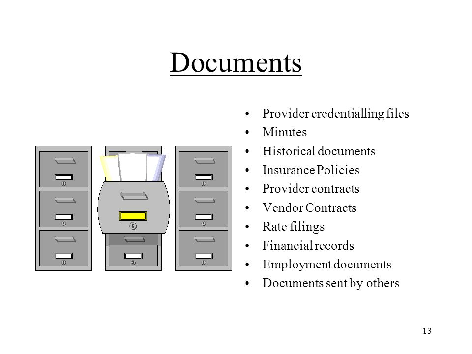 13 Documents Provider credentialling files Minutes Historical documents Insurance Policies Provider contracts Vendor Contracts Rate filings Financial records Employment documents Documents sent by others