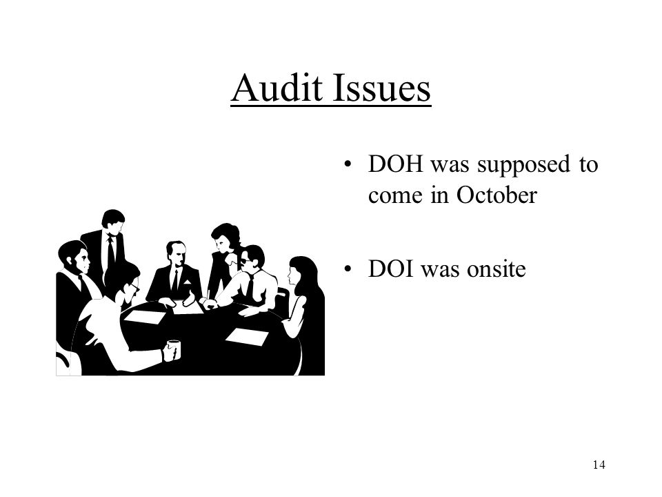 14 Audit Issues DOH was supposed to come in October DOI was onsite