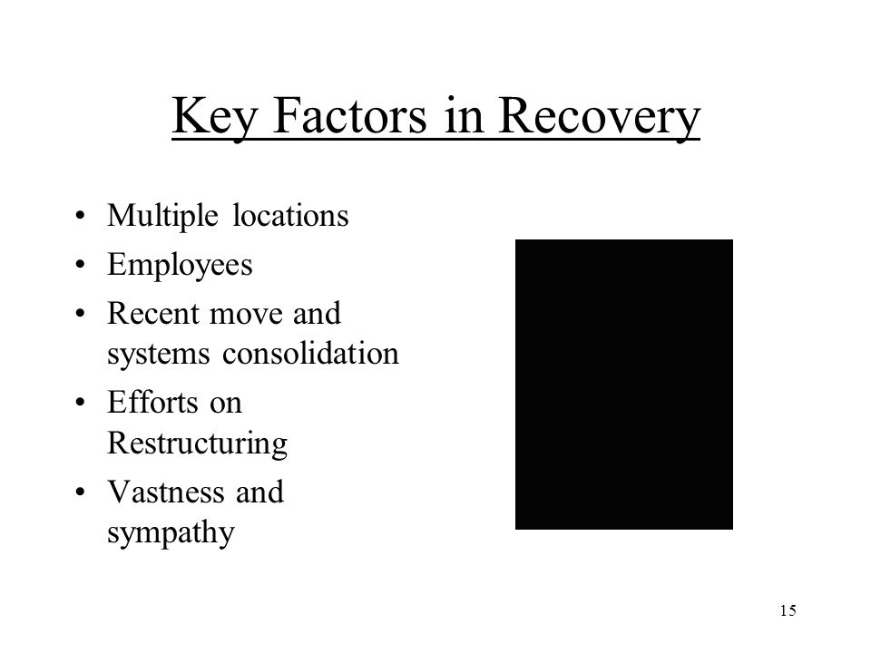 15 Key Factors in Recovery Multiple locations Employees Recent move and systems consolidation Efforts on Restructuring Vastness and sympathy