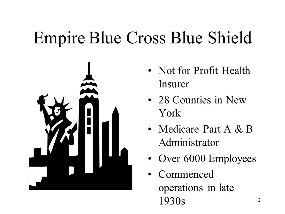 2 Empire Blue Cross Blue Shield Not for Profit Health Insurer 28 Counties in New York Medicare Part A & B Administrator Over 6000 Employees Commenced operations in late 1930s