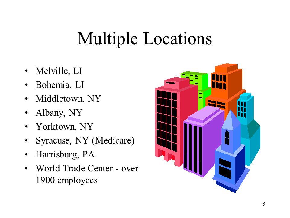 3 Multiple Locations Melville, LI Bohemia, LI Middletown, NY Albany, NY Yorktown, NY Syracuse, NY (Medicare) Harrisburg, PA World Trade Center - over