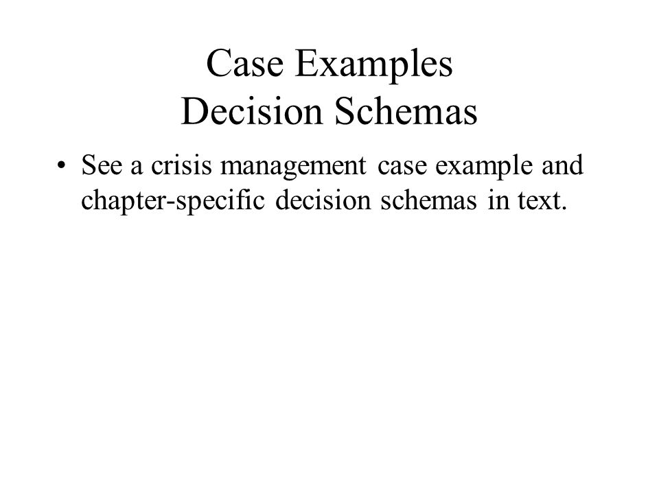 Case Examples Decision Schemas See a crisis management case example and chapter-specific decision schemas in text.
