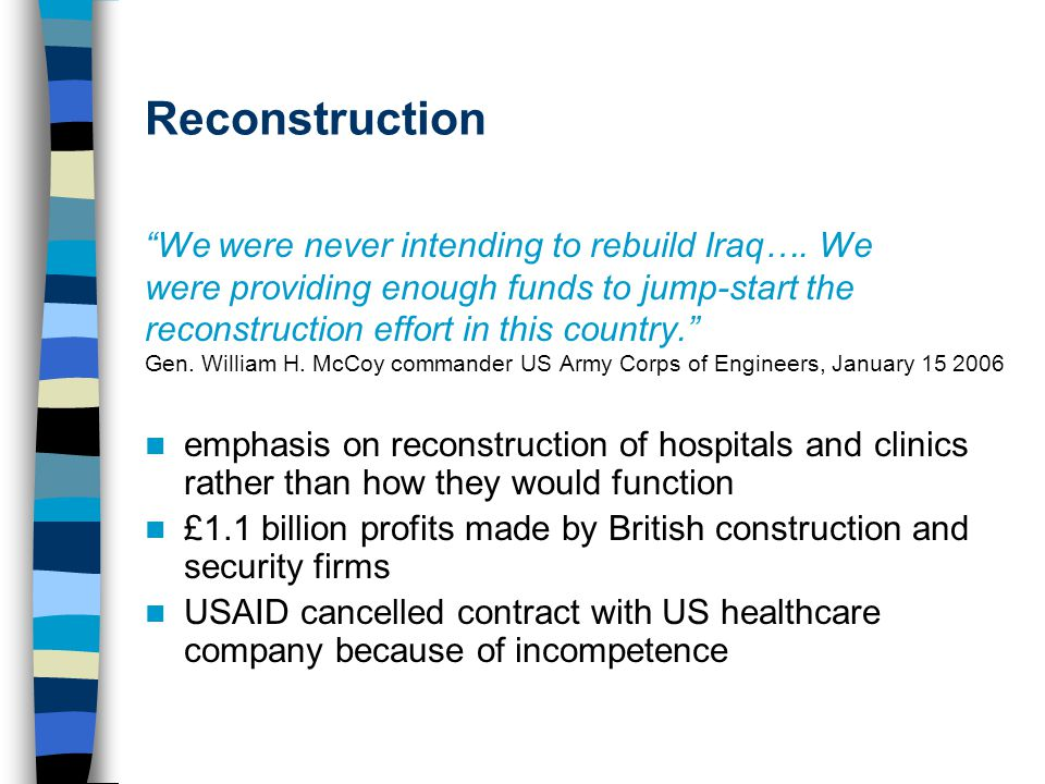 Reconstruction We were never intending to rebuild Iraq….