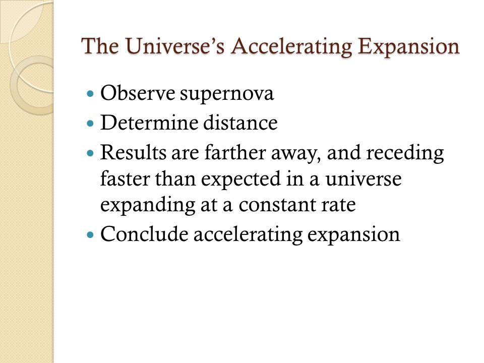 The Universe's Accelerating Expansion Observe supernova Determine distance Results are farther away, and receding faster than expected in a universe expanding at a constant rate Conclude accelerating expansion